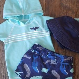 Baby Boy Rashgaurd swim trunks shorts & hat